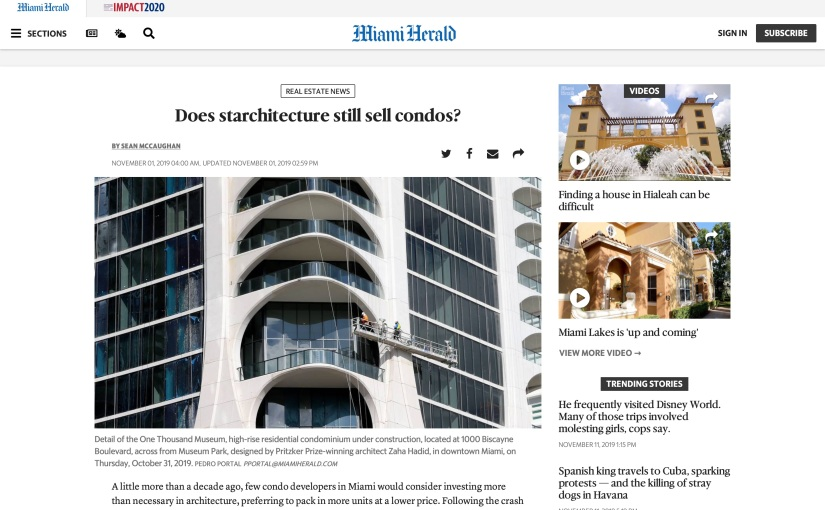 Miami Herald: Does Starchitecture Still Sell Condos?